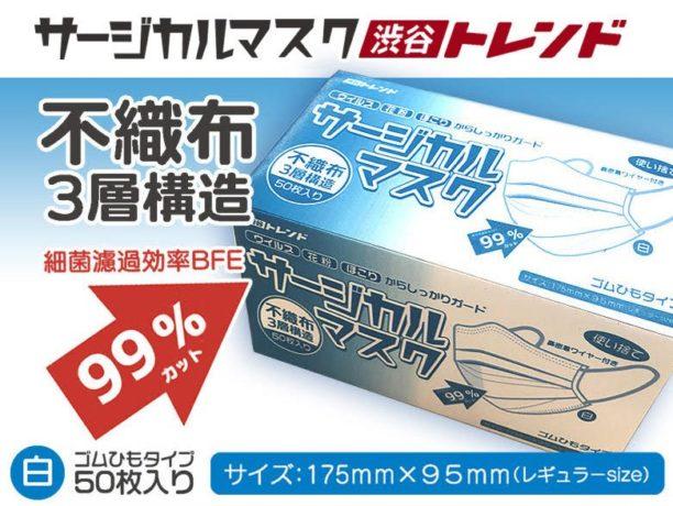 50枚入り!高性能不織布3層構造・サージカルマスク特別販売