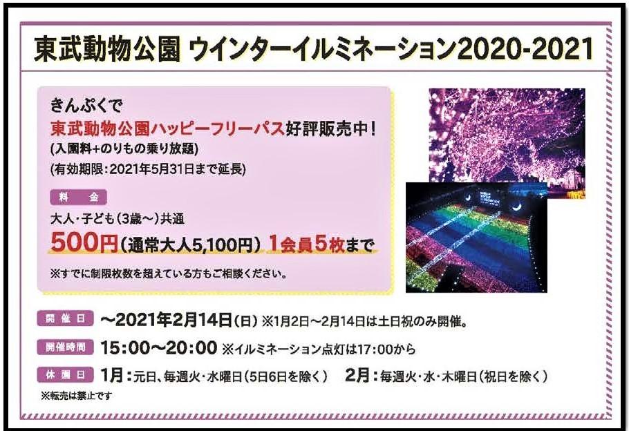 【1月号】いまだけ限定価格!イルミネーション開催中!東武動物公園